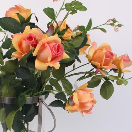 "Real Touch 2 Rose Bloom Stem in Orange 37"" Tall - Gentille Home Collection - 1"