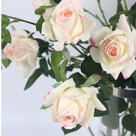 "Real Touch 2 Rose Bloom Stem in  Pink White 37"" Tall"