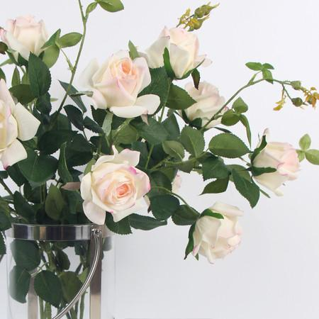 "Real Touch 2 Rose Bloom Stem in  Pink White 37"" Tall - G Home Collection"