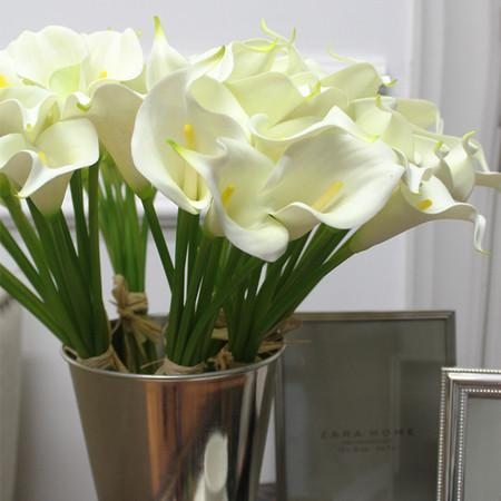 "Real Touch 9 Calla Lily Bouquet in White 13"" Tall - Gentille Home Collection - 1"
