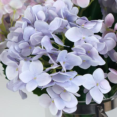 "Real Touch Hydrangea Stem in Light Purple and Light Pink 24"" Tall - Gentille Home Collection - 1"
