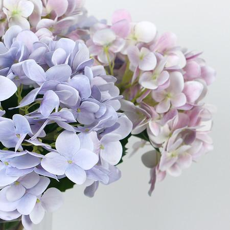 "Real Touch Hydrangea Stem in Light Purple and Light Pink 24"" Tall"
