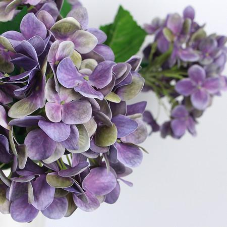 "Real Touch Hydrangea Stem in Purple 24"" Tall - Gentille Home Collection - 1"