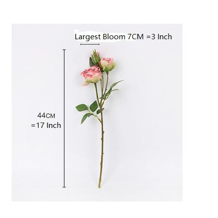 "Silk 3 Rose Bloom Stem in Pink and Champagne Pink 17"" Tall - G Home Collection"