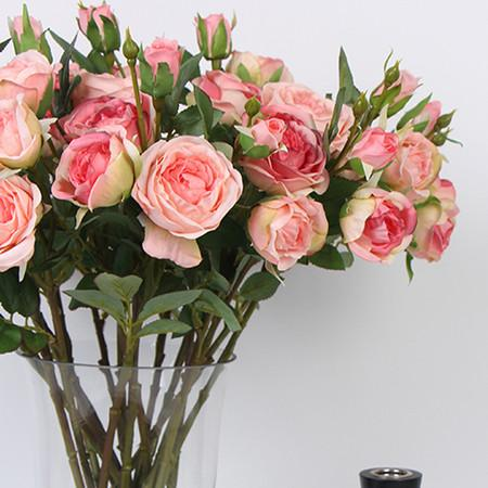 "Silk 3 Rose Bloom Stem in Pink and Champagne Pink 17"" Tall - Gentille Home Collection - 1"