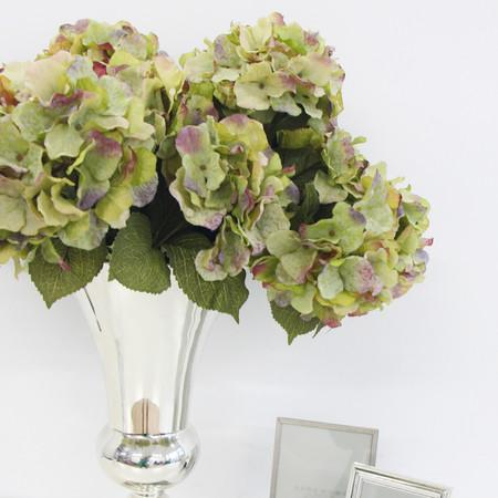 "Silk 5 Hydrangea Bloom Bush in Green 21"" Tall"