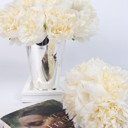 "Silk 5 Peony Bouquet in Cream White 10"" Tall - G Home Collection"