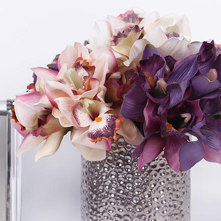 "Silk 7 Cymbidium Orchid Bouquet in 5 Various Colors 9"" Tall - G Home Collection"