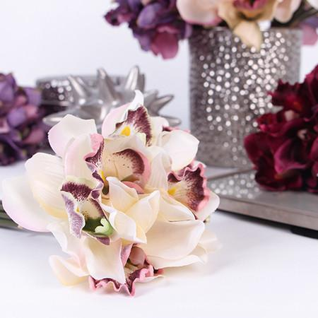 "Silk 7 Cymbidium Orchid Bouquet in 5 Various Colors 9"" Tall - Gentille Home Collection - 1"