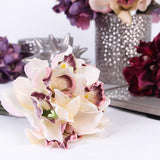 Silk 7 Cymbidium Orchid Bouquet in 5 Various Colors 9