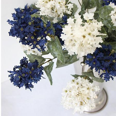 "Silk 7 Small Hydrangea Bloom Bush in Blue and White 19"" Tall"