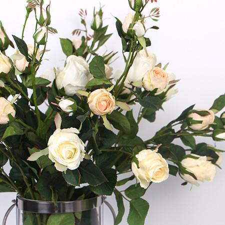 "Silk 8 Rose Bloom Stem in Champagne White 38"" Tall"
