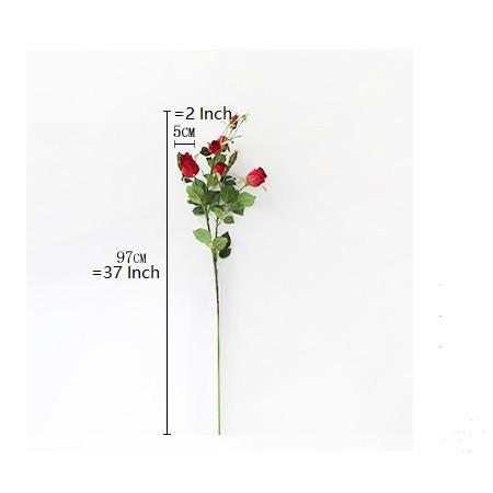 "Silk 8 Rose Bloom Stem in Red 38"" Tall - G Home Collection"