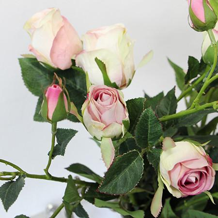 "Silk 8 Rose Bloom Stem in White Pink 38"" Tall"