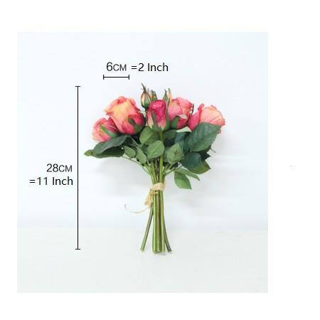 "Silk 9 Rose Bouquet in Orange Red 11"" Tall - G Home Collection"