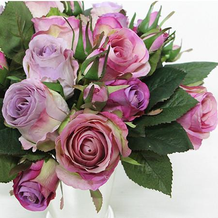 "Silk 9 Rose Bouquet in Purple 11"" Tall - G Home Collection"
