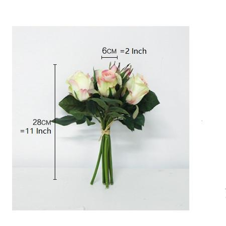 "Silk 9 Rose Bouquet in White 11"" Tall - G Home Collection"