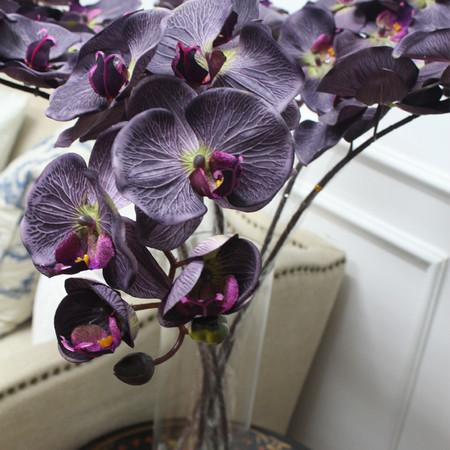 "Silk Butterfly Orchid Stem in Dark Purple 37"" Tall - Gentille Home Collection - 1"