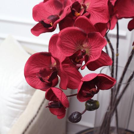 "Silk Butterfly Orchid Stem in Red 37"" Tall - Gentille Home Collection - 1"