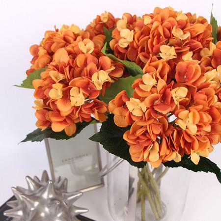 "Silk Hydrangea Stem in Orange 18"" Tall - G Home Collection"