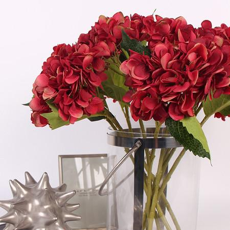 "Silk Hydrangea Stem in Red 18"" Tall - G Home Collection"