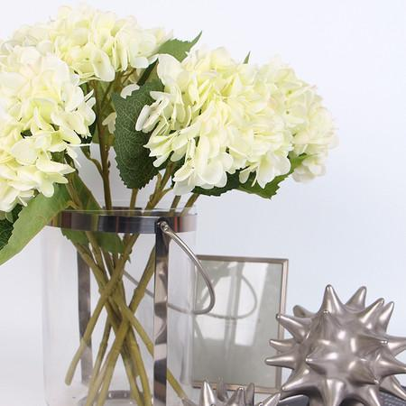 "Silk Hydrangea Stem in White 18"" Tall - G Home Collection"