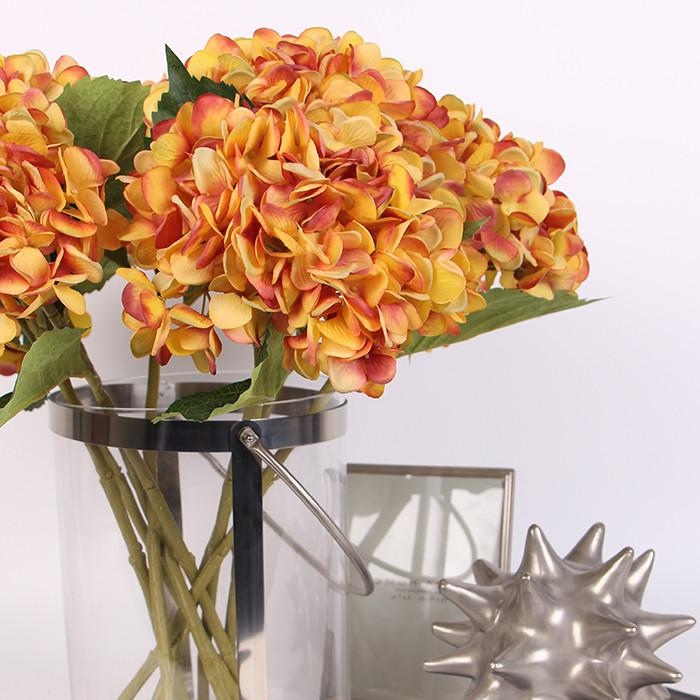 "Silk Hydrangea Stem in Yellow Orange 18"" Tall - G Home Collection"
