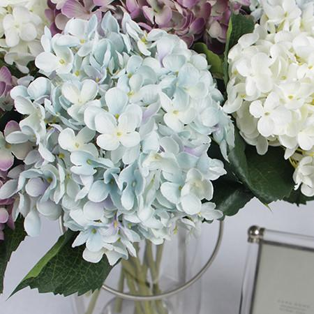 "Silk Small Petal Hydrangea Stem in Light Blue Light Purple and Cream White 20"" Tall - G Home Collection"