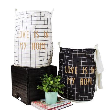 Gold Letter Grid Pattern Fabric Laundry Basket White and Black (Set of 2)