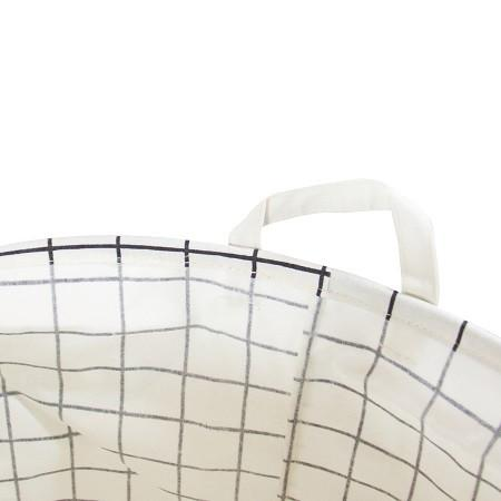 Gold Letter Grid Pattern Fabric Laundry Basket White and Black (Set of 2) - G Home Collection