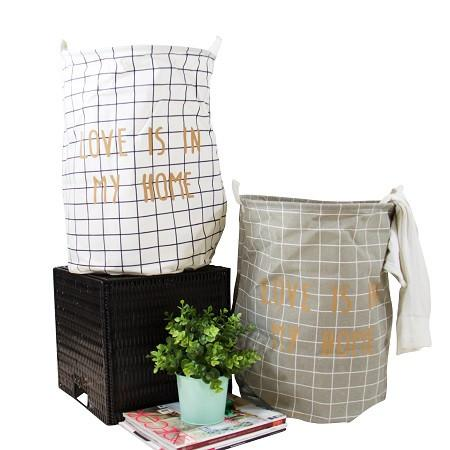 Gold Letter Grid Pattern Fabric Laundry Basket White and Gray (Set of 2)