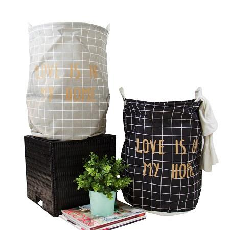 Gold Letter Grid Pattern Fabric Laundry Basket Gray and Black (Set of 2)