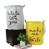 Gray and Yellow Happy Smile Fabric Laundry Basket with Handles (Set of 2)