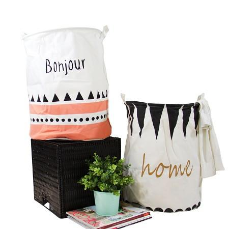 Bonjour Home Pink and Black Fabric Laundry Basket with Handles (Set of 2) - G Home Collection