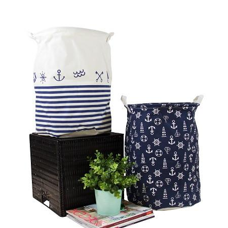 Drawstring Top Fabric Laundry Basket Black and White (Set of 2)
