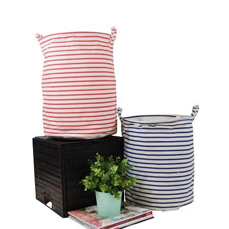 Drawstring Top Red and Blue line Fabric Laundry and Toy Storage Basket (Set of 2)