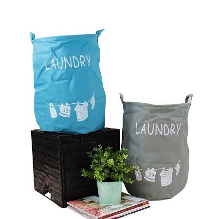 Drawstring Top Fabric Laundry Basket Blue and Gray (Set of 2)