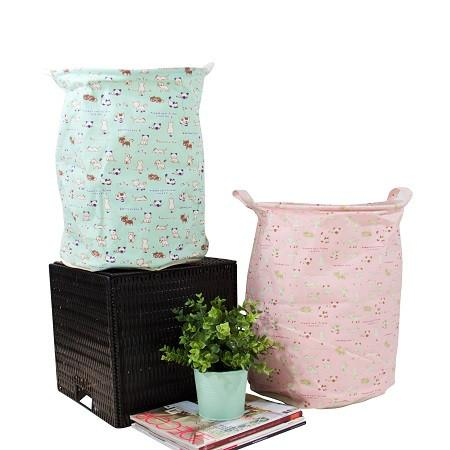 Bonjour Home Pink and Black Fabric Laundry Basket with Handles (Set of 2)