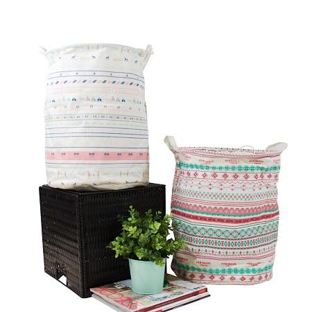 Drawstring Top Red Pink Pattern Fabric Laundry and Storage Basket (Set of 2)
