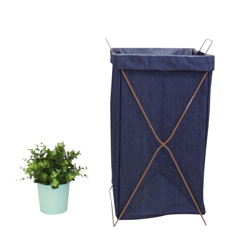 Wire Fold Laundry Hamper Blue Jeans Color with Letters - G Home Collection