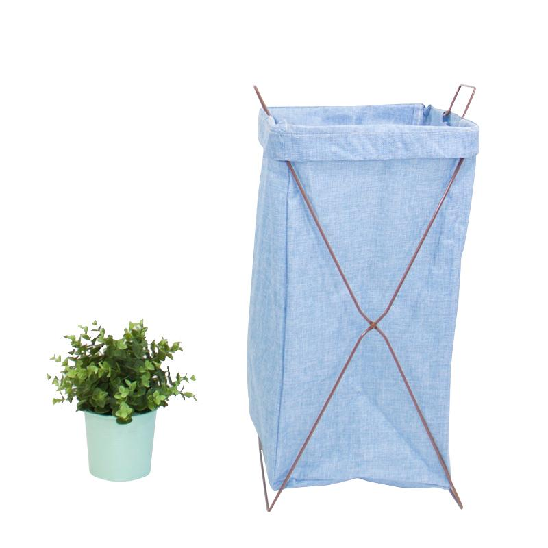 Wire Fold Laundry Hamper Light Blue with Letters - G Home Collection