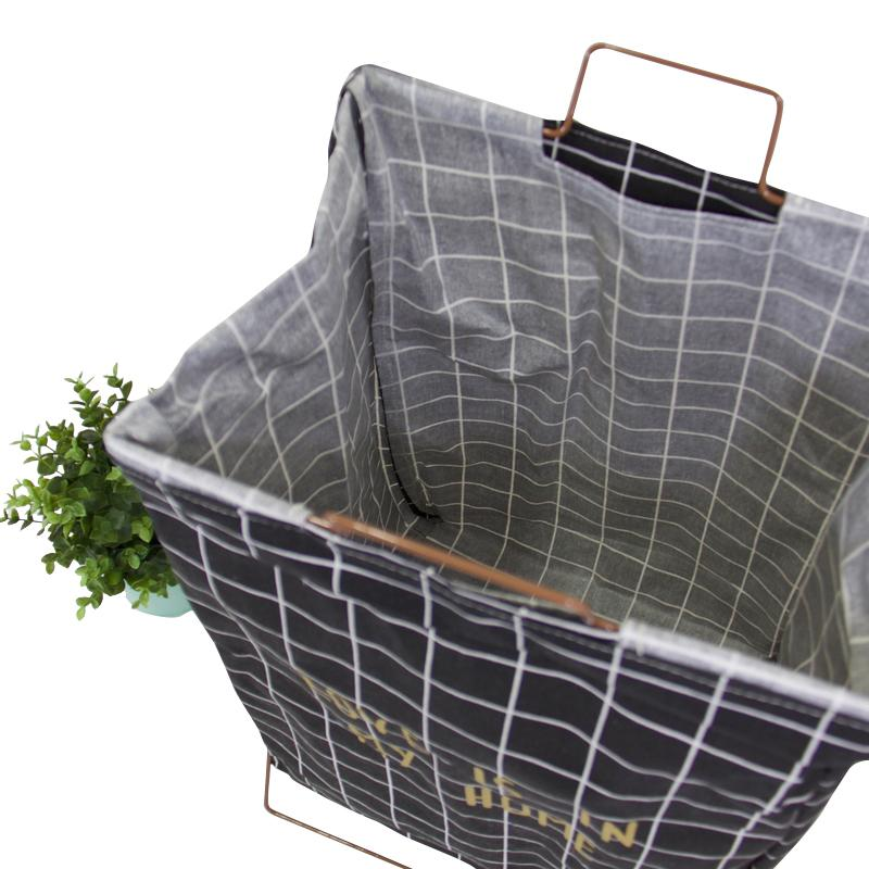 Wire Fold Laundry Hamper Black Check with Letters - G Home Collection