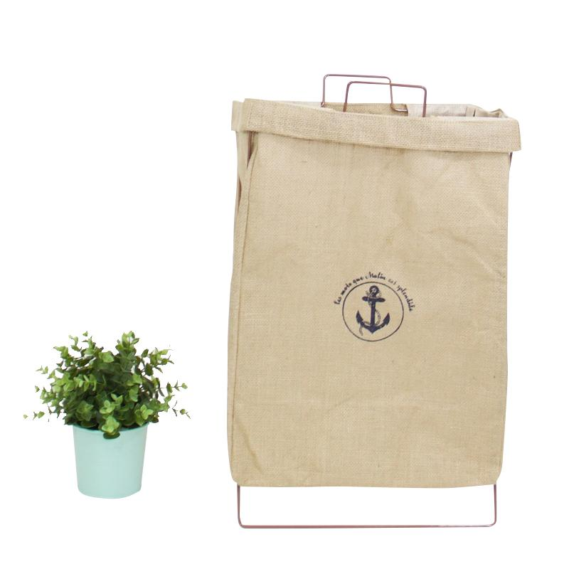 Wire Fold Laundry Hamper Beige Linen Anchor Logo - G Home Collection