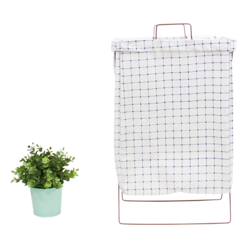 Wire Fold Laundry Hamper Blue Grid Pattern - G Home Collection