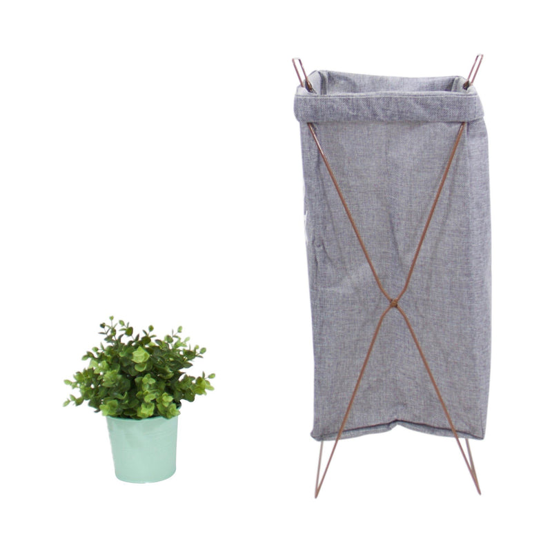 Wire Fold Laundry Hamper Gray with Letters - G Home Collection