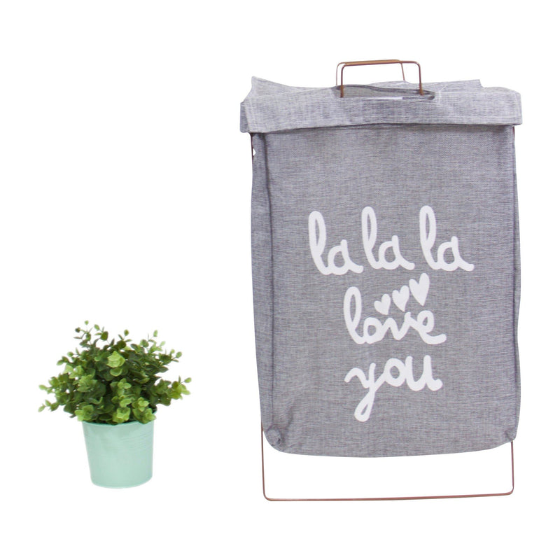 Wire Fold Lidded Laundry Hamper Gray with Letters - G Home Collection