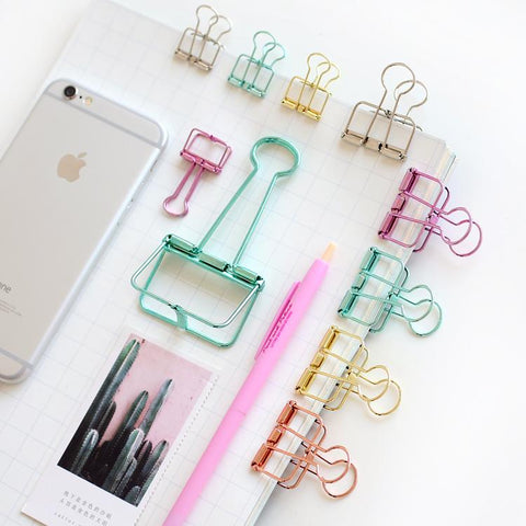 Colorful Classic Binder Clips Randomly Picked Set of 9