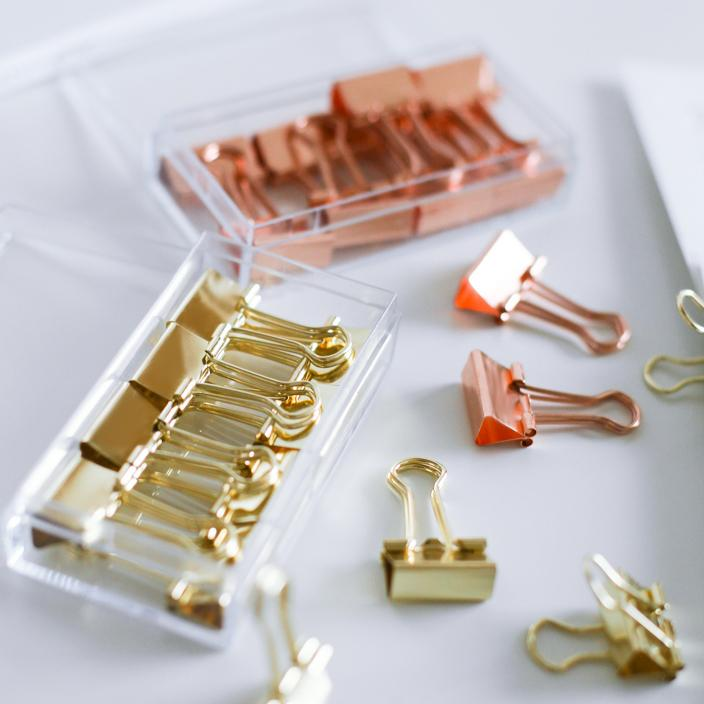 Modern Binder Clips Gold and Rose Set of 2 Boxes - G Home Collection