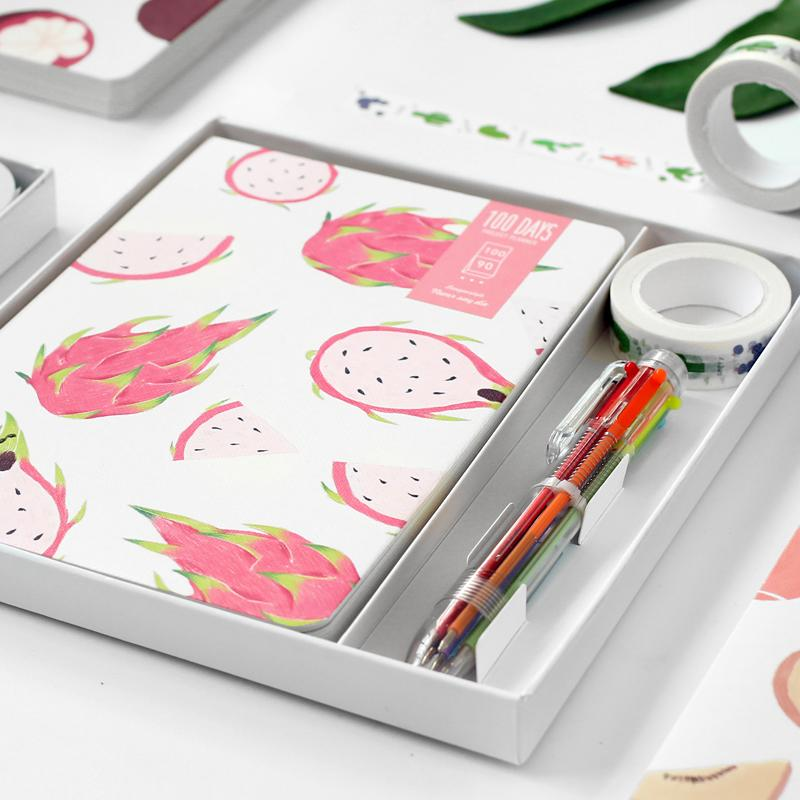 100 Days Pitaya Fruits Journal Pen Tape Set - G Home Collection