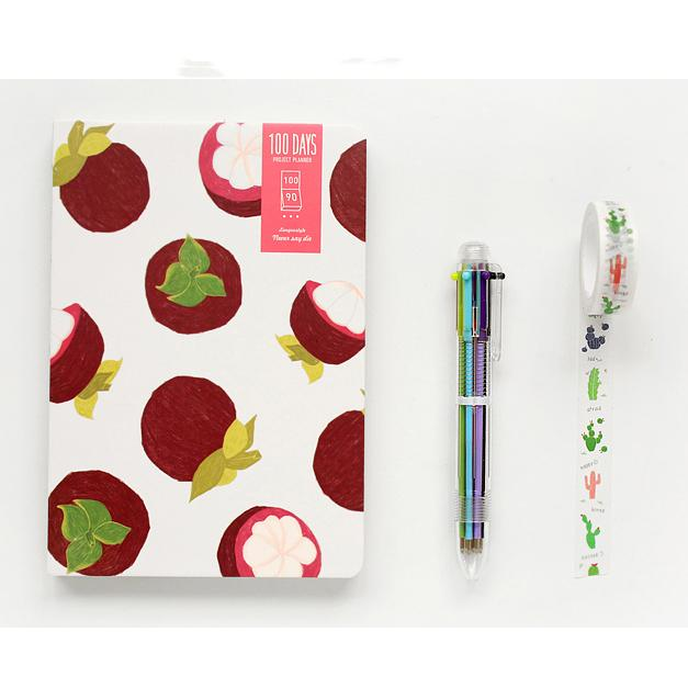 100 Days Mongosteen Fruits Journal Pen Tape Set - G Home Collection